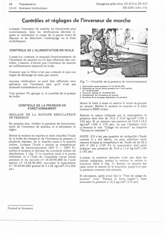 Pb de pression d'huile hydraulique sur JD410 Reglag11
