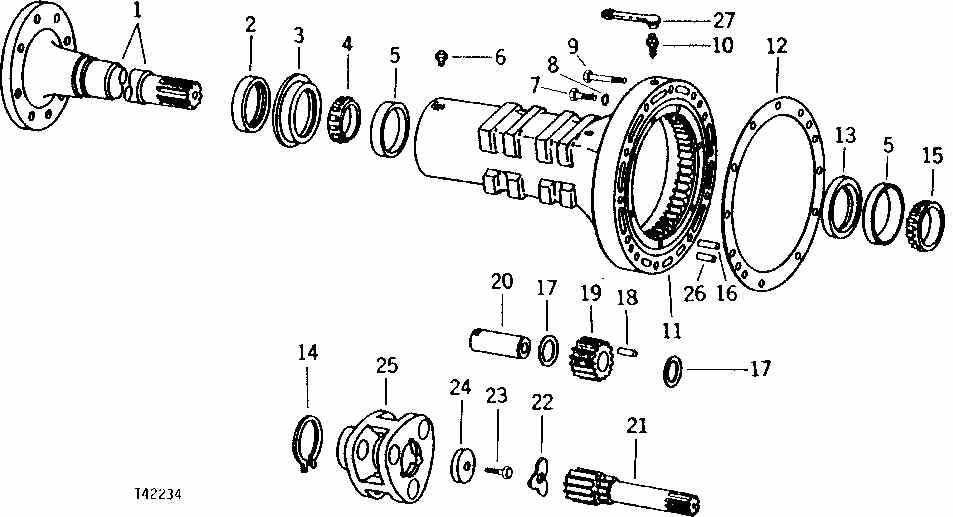 Casse arbre de roue arrière JD400A T4223410