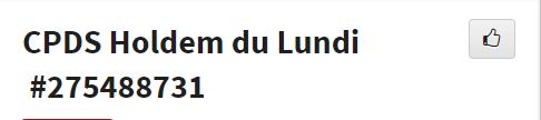 CPDS Holdem du Lundi - 2ème trimestre 2019 L1169