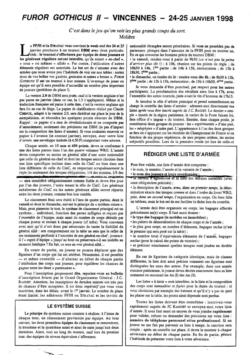 Souvenir DBM de 1998 ........  FUROR GOTHICUS II 1998-010