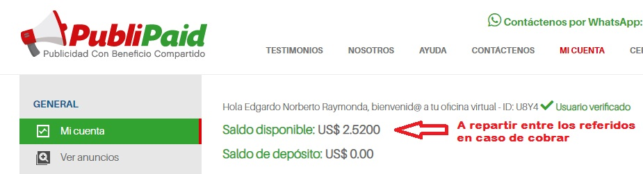 [PAGANDO] PUBLIPAID - 80% REFBACK - MÍNIMO 10$  Balanc10