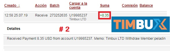 [PAGANDO] TIMBUX (oferta II) - 80% REFBACK - MÍNIMO 2$ - Recibido 14to. pago Pago224