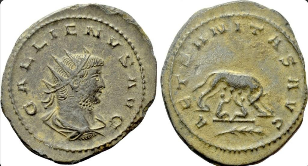 Antoniniano de Galieno. AETERNITAS AVG. La loba capitolina. Antioch. Screen17