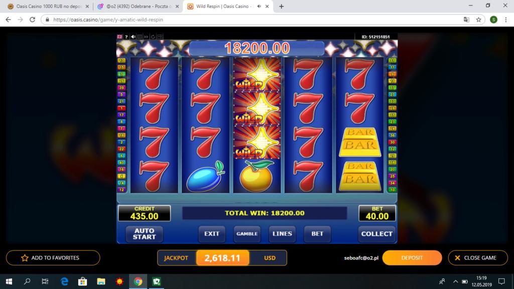 Oasis Casino 1000 RUB no deposit bonus Wildre10