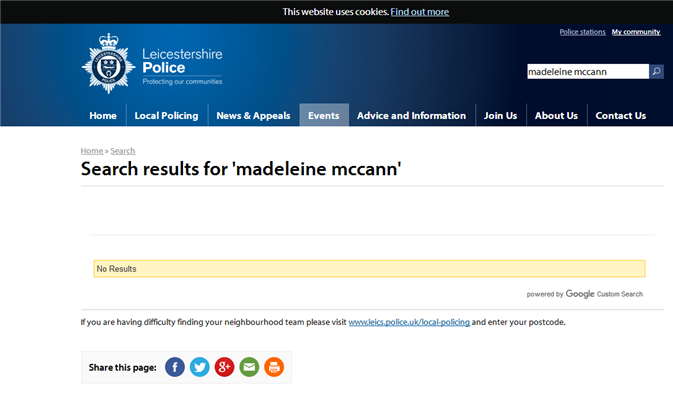 Why has Leics police removed all mention of Maddy from their website? 111
