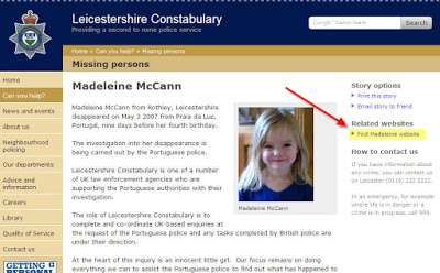 Why has Leics police removed all mention of Maddy from their website? Leics_10