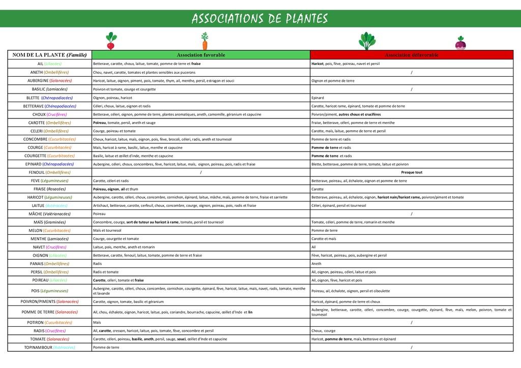 Associations de plantes Tablea11
