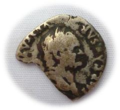 Fragment d'une monnaie de Vespasien en argent Chaa710