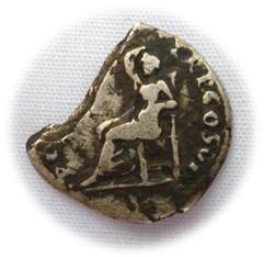 Fragment d'une monnaie de Vespasien en argent Char710