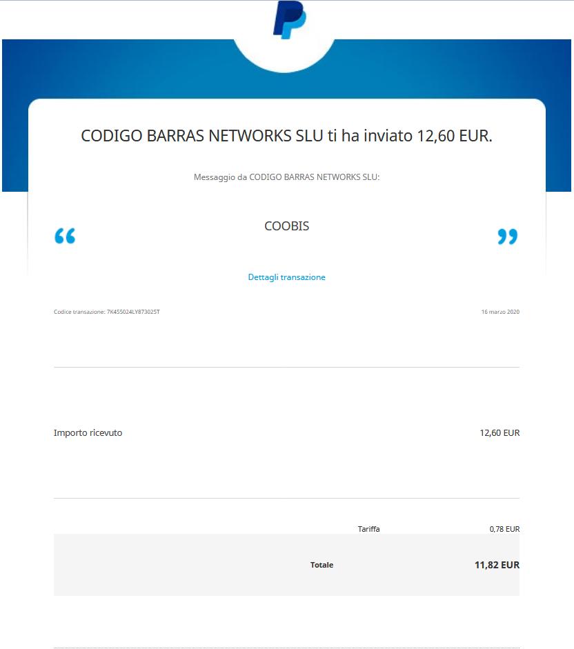 Comprobantes de Pago de Coobis #10, #11 y #12 por un total de € 33,60 Coobis10