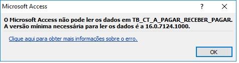 [Resolvido]Erro abertura de tabela access versão 2010 resolvido erro 16.0.7124.1000 Erro_a12