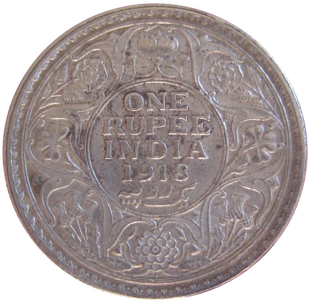 1 Rupia de Jorge V - 1917. Calcuta (India británica) 1_rupe12