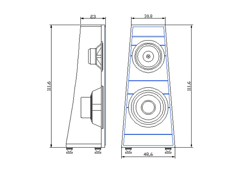 """Pre-Proyecto Open Baffle LII AUDIO Silver 10"""" + Woofer 15"""" Plans010"""