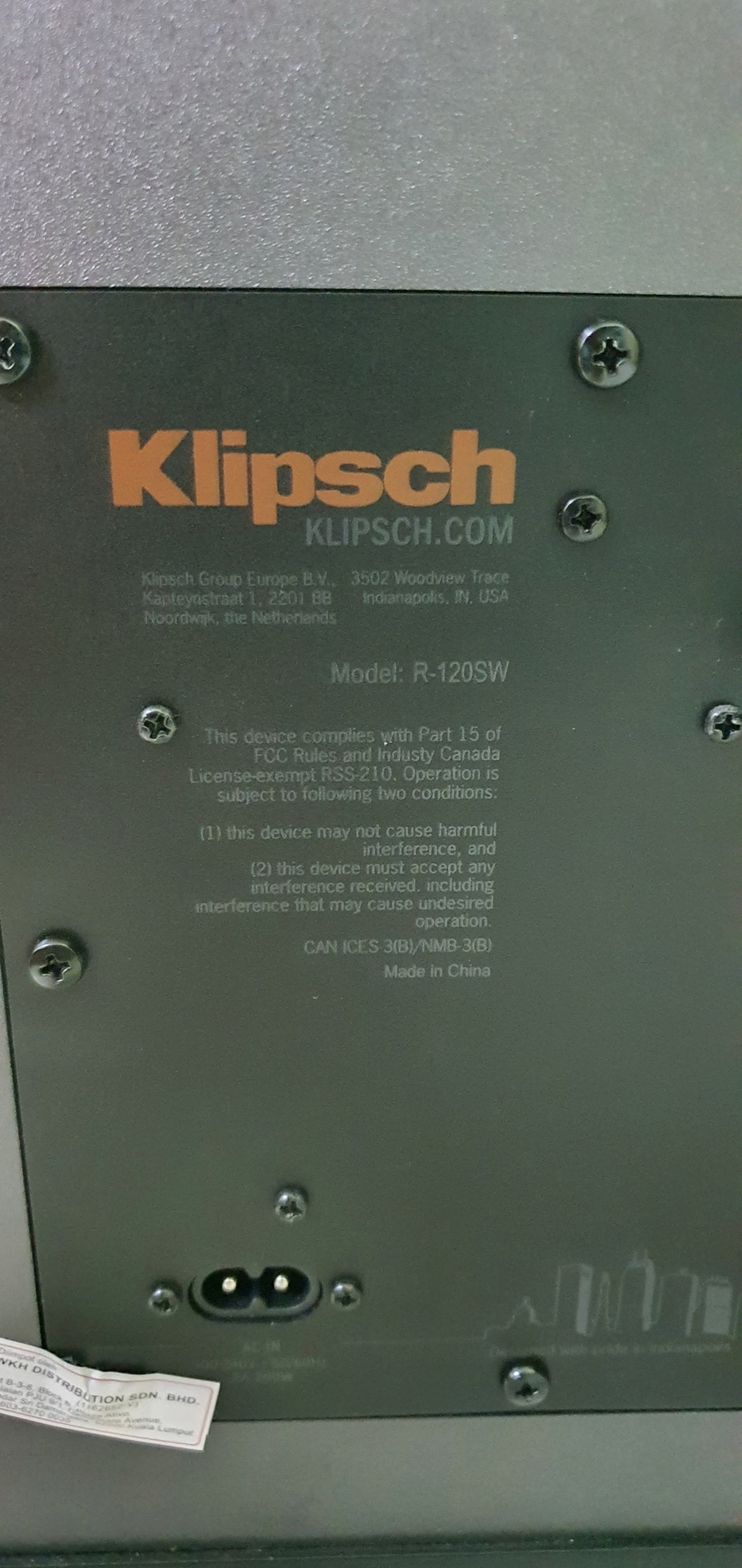 Klipsch R-120SW Subwoofer (under warrenrty) 20210414