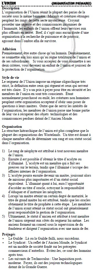 Description des organisations L_unio10
