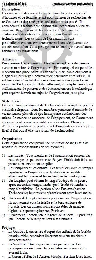 Description des organisations Techno10