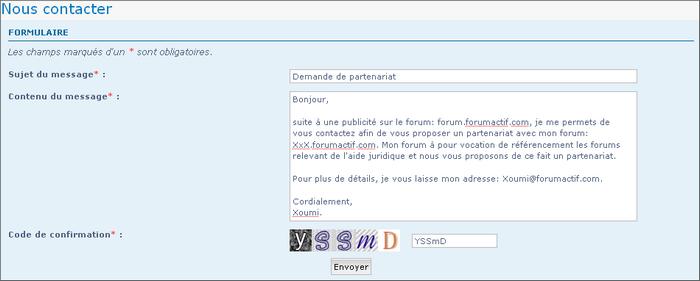 Activer le formulaire de contact Contac13