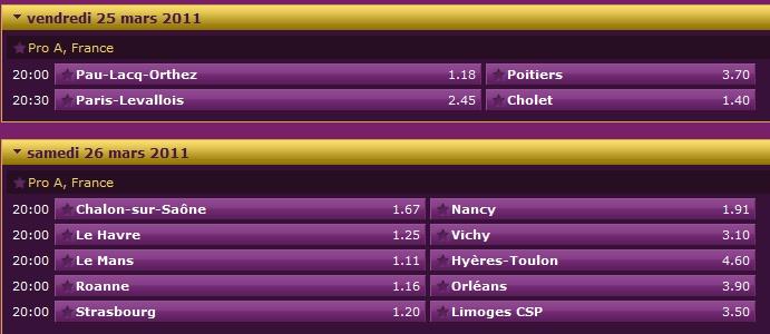 Pronostics 23ème journée de Pro A : Paris Levallois Cholet - Le Mans Hyères Toulon - Strasbourg Limoges... 23ame_11