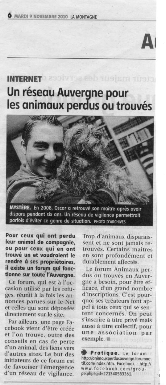 Animaux perdus ou trouvés en Auvergne - Portail Animau10
