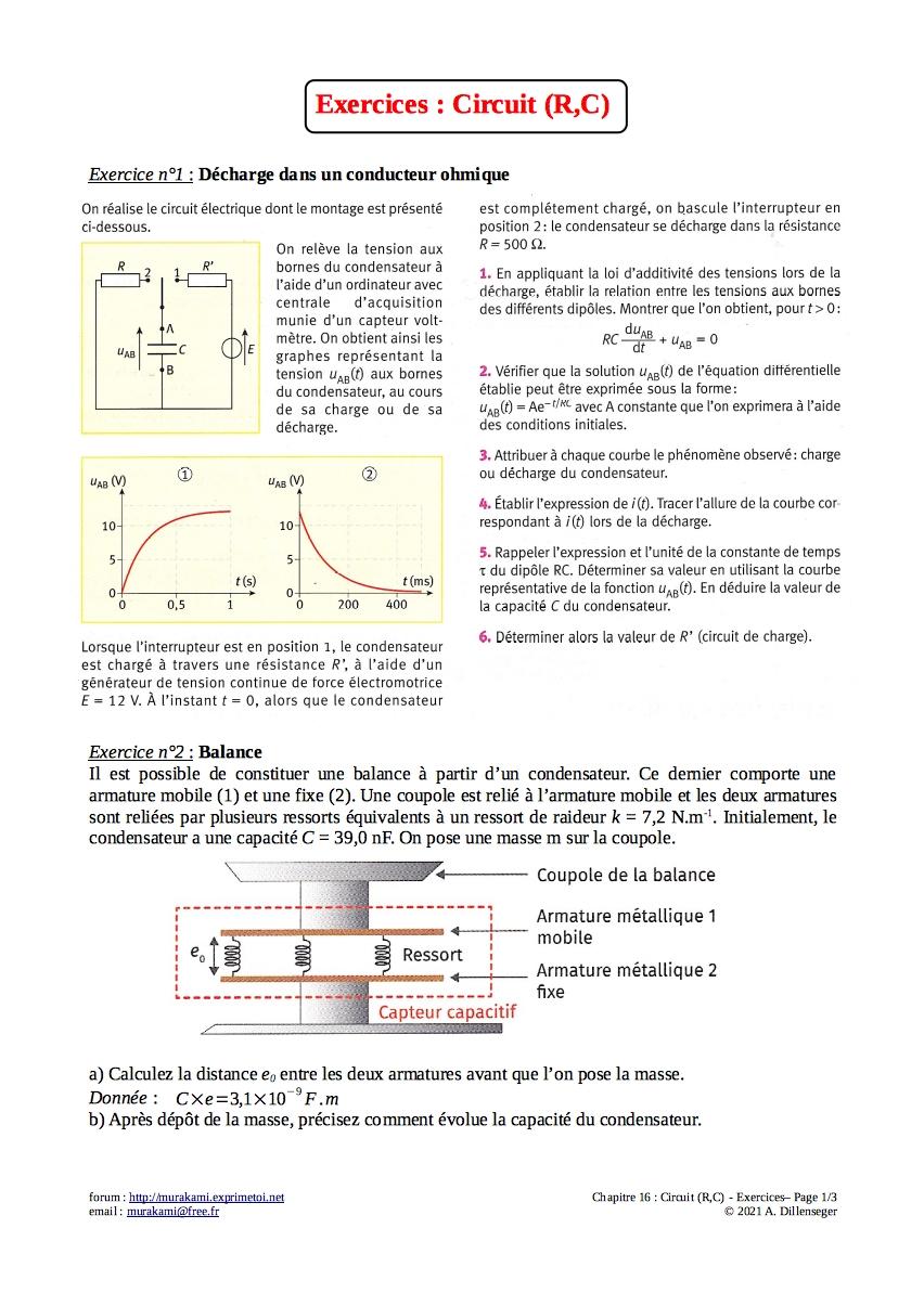 Exercices : Circuit (R,C) Exerc128