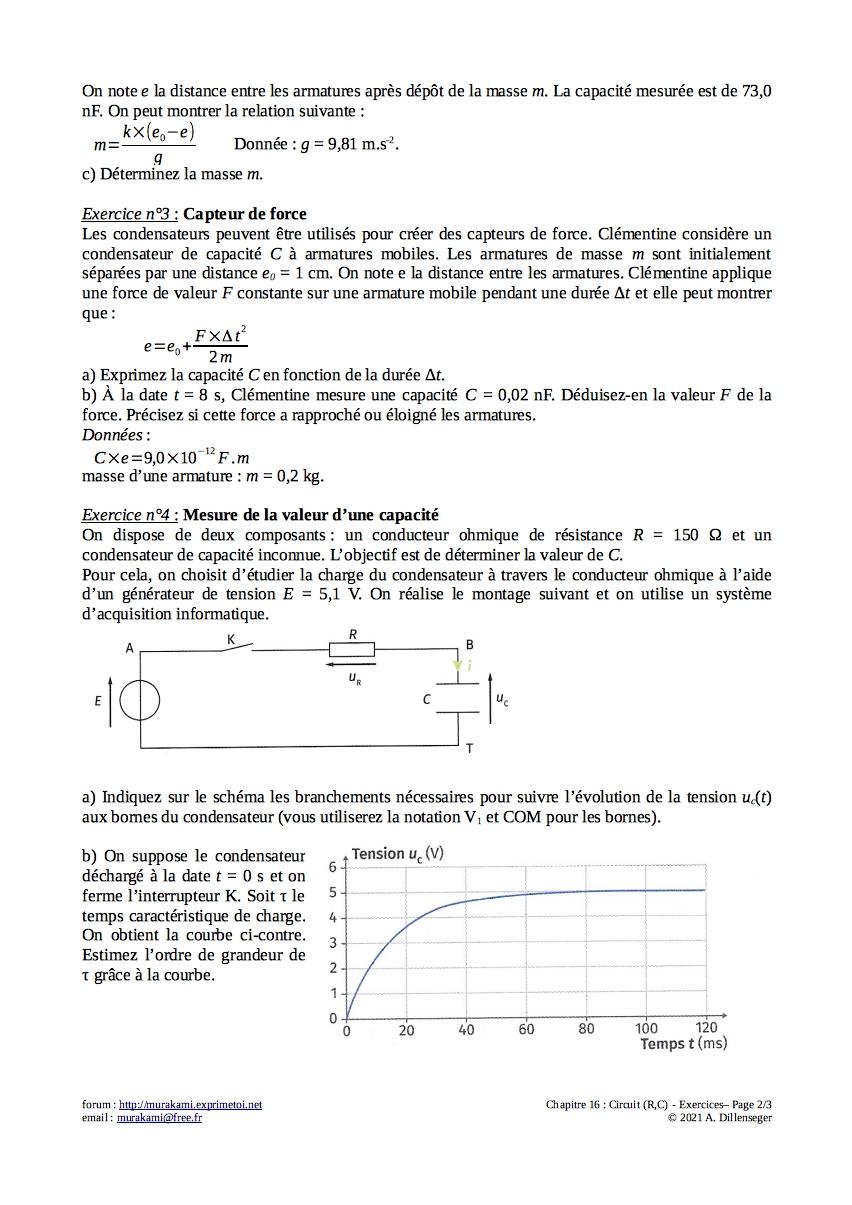 Exercices : Circuit (R,C) Exerc129