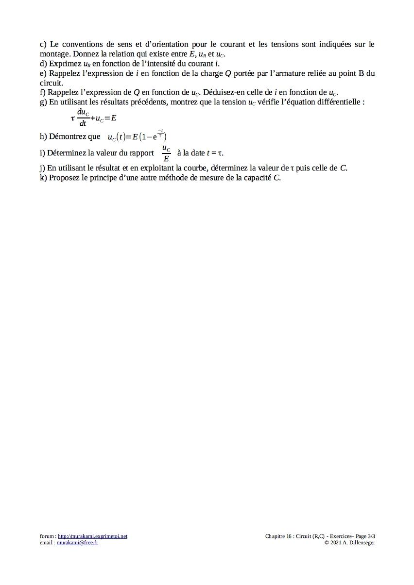 Exercices : Circuit (R,C) Exerc130