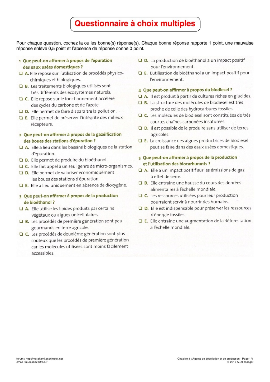 Q.C.M. : Dépollution et production Qcm-en10