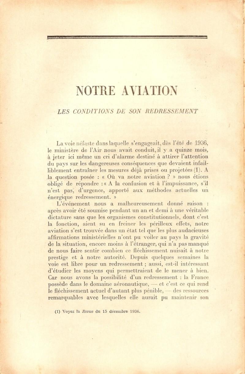 Etude, datant de 1938, sur notre aviation 27010