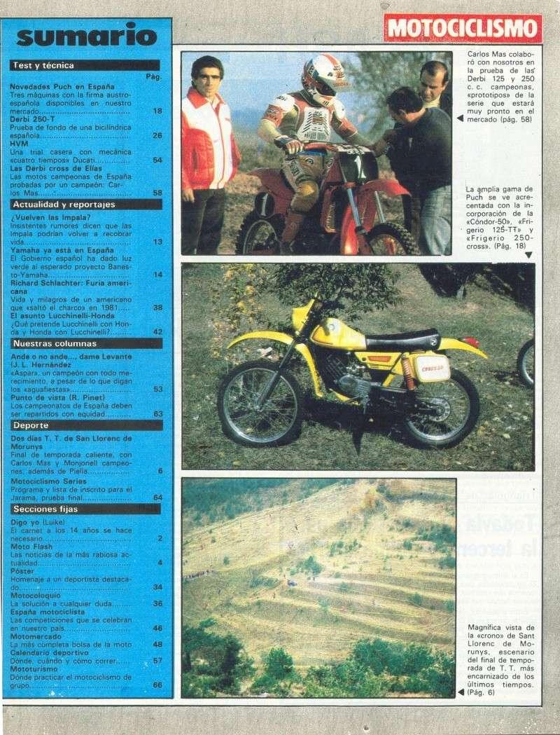 Motociclismo 728 - Noviembre 1981 - Puch MiniCross Condor/Frigerio 125 TT/250 Cross/Cobra TT Agua 0221