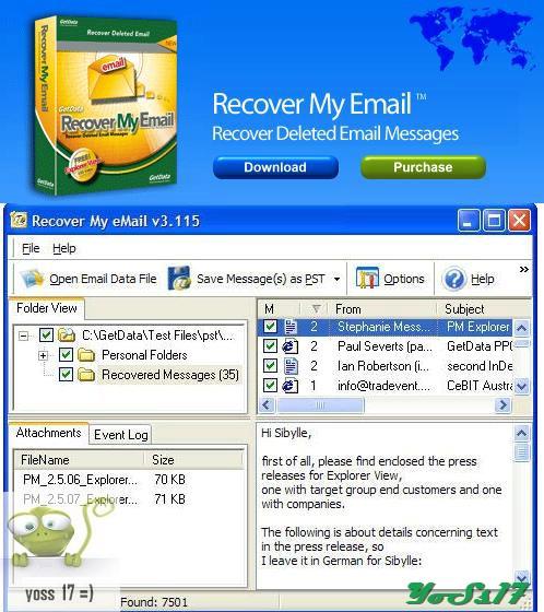 GetData Recover My Email 4.2.1.654 (es un programa que te permitirá recuperar esos correos electrónicos que borraste por error de la bandeja de tu gestor de correo Microsoft) 2638zu10