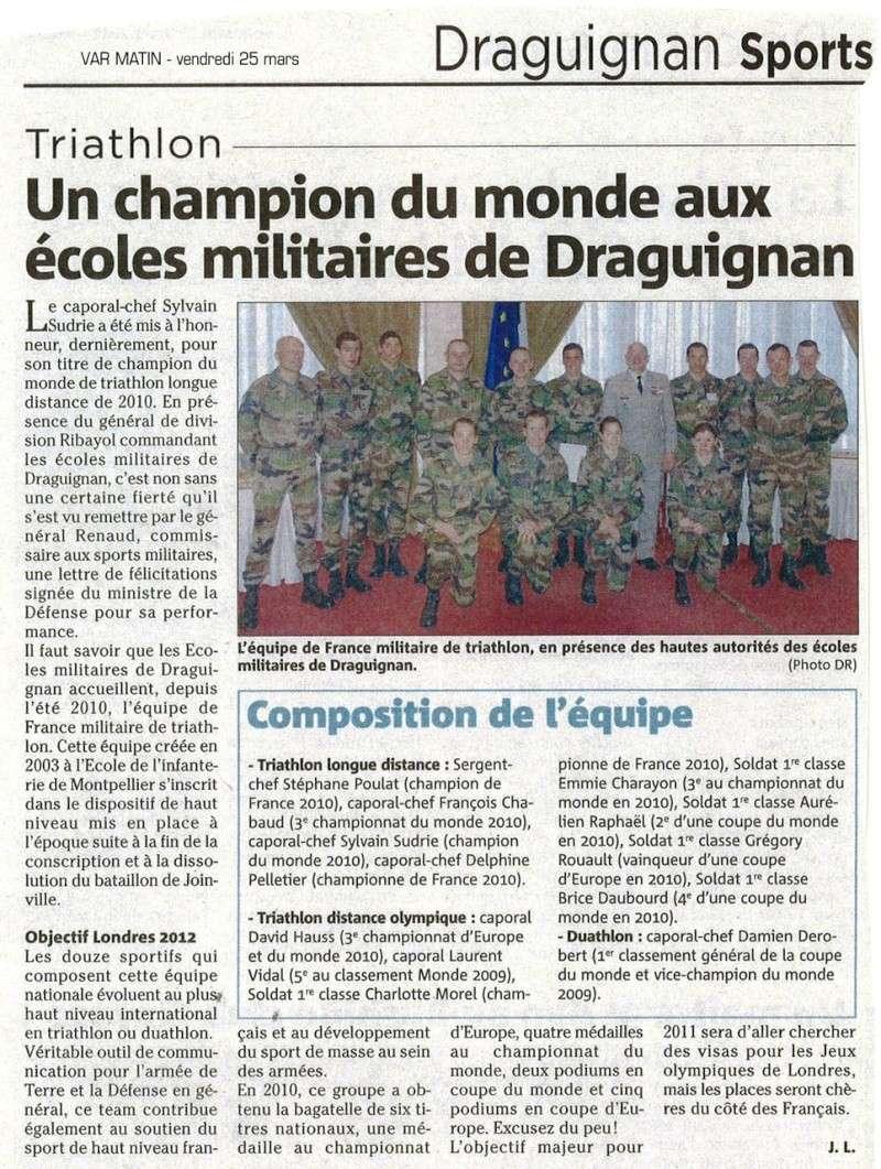 Equipe de France militaire de triathlon. Articl10
