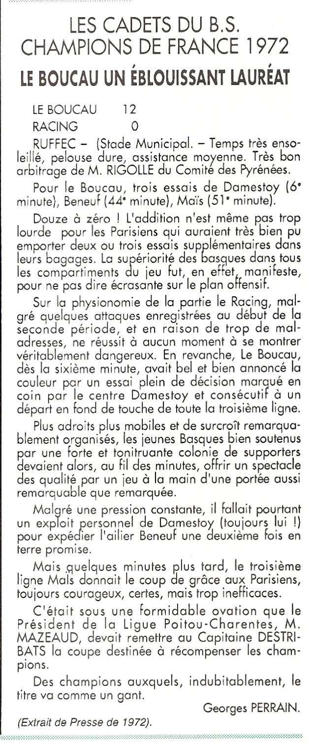 Les cadets de 1972.... Champion de France Cadets10