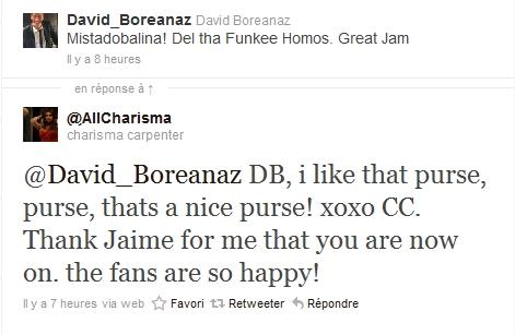 Les échanges Charisma/David sur Twitter 11-04-12