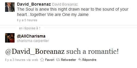 Les échanges Charisma/David sur Twitter 11-04-18