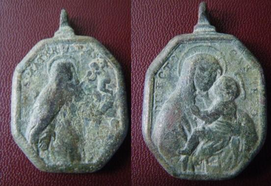 Médaille mariale - Vierge & ND-du-Mt-Carmel - XVIIème M110