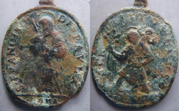 Médaille St-François-de-Paul & St-Christophe - XVIIème M210