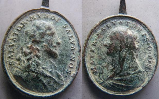 Médaille Jésus / Marie - XVII / XVIIIème M410