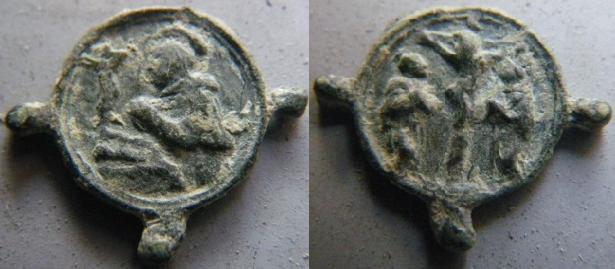 Médaille St-Jérôme & scène crucifixion - XVIIème M910