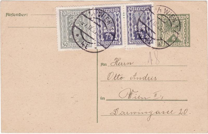 """Postkartenserie """"Quadratischer Wertstempel - Wertziffer im Dreieck"""" 1922-24 Img16"""