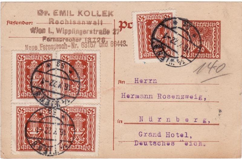 """Postkartenserie """"Quadratischer Wertstempel - Wertziffer im Dreieck"""" 1922-24 Img26"""