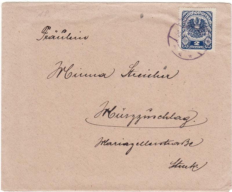 Republik Deutsch-Österreich  -  Bedarfspost Dez. 1918 - Dez. 1921 Img54