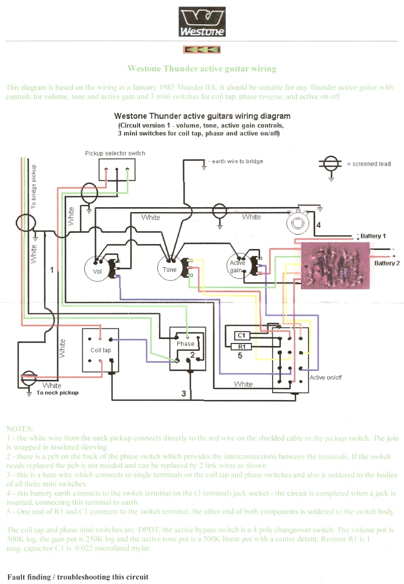 thunder 1a lead guitar wiring problems westone thunder 1a bass wiring diagram at Westone Thunder 1a Wiring Diagram