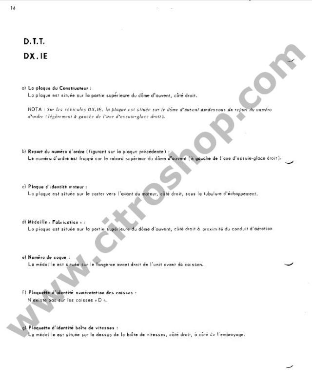 Position des plaquettes Identi36