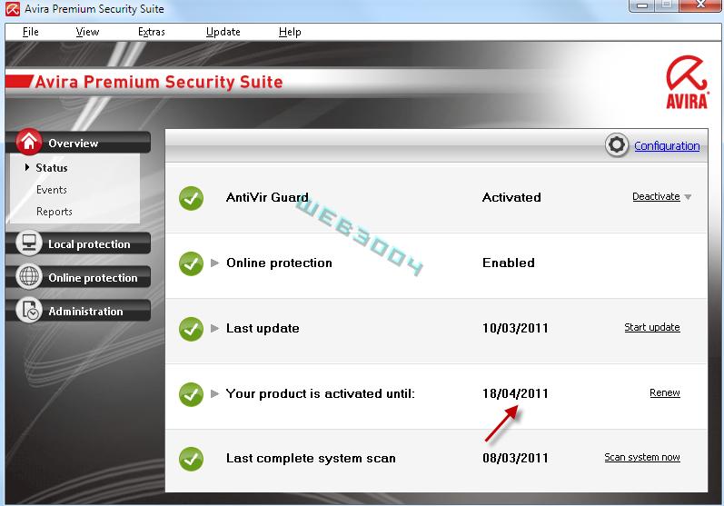 Avira Internet security  v10 gratuit 6 Mois sur le web3004 ! 10-03-14