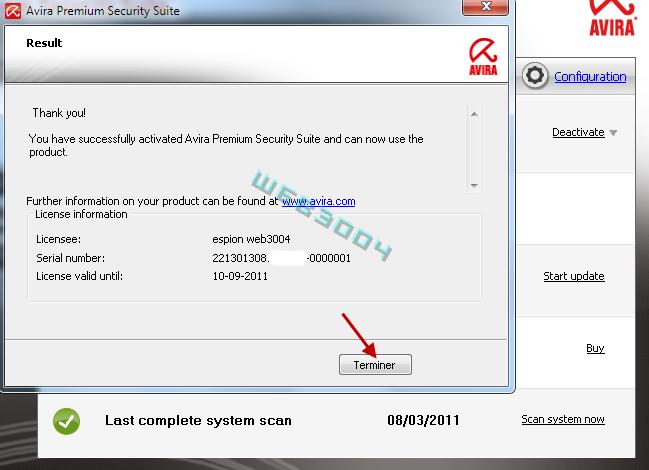 Avira Internet security  v10 gratuit 6 Mois sur le web3004 ! 10-03-25