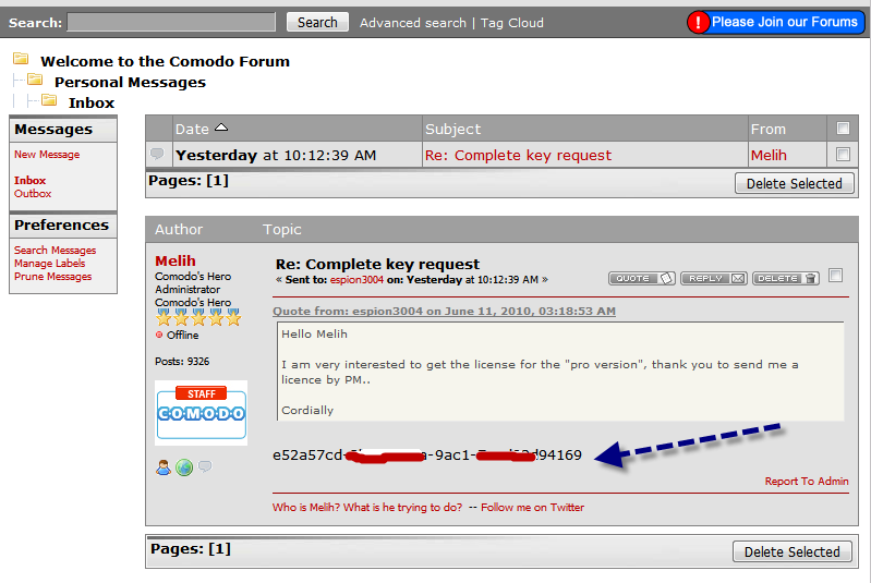 Licence Comodo Internet Security : Version Complète (365 jours) 13-06-10