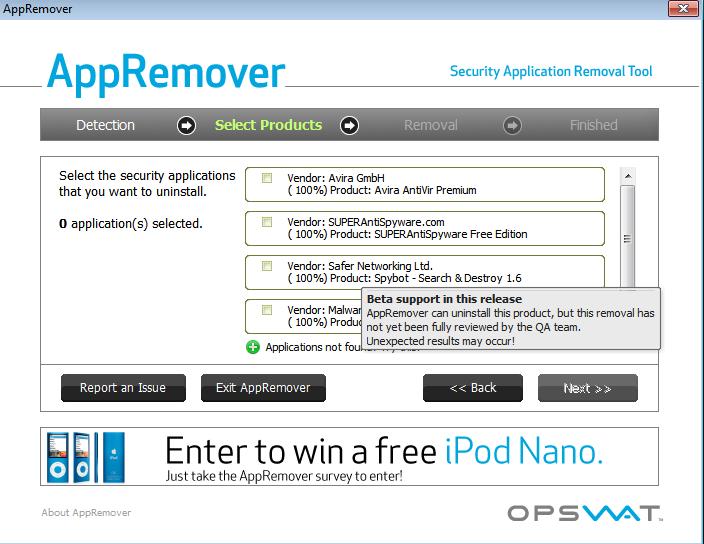 AppRemover : supprimer la plupart des anti-virus et anti-spyware. 22-03-12