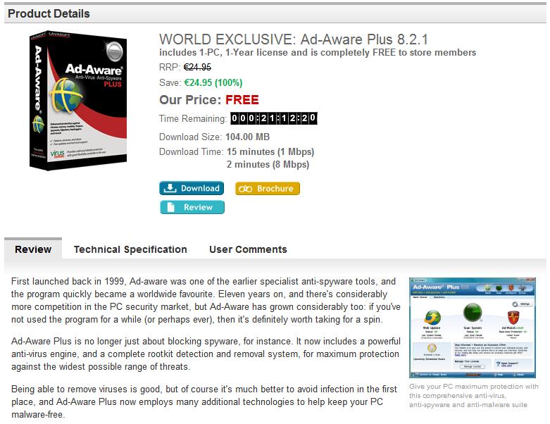 Téléchargez gratuitement avec licence Ad-Aware Plus 8.2.1 pour 365 jours ! 26-03-11