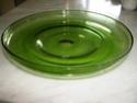 Numbered blown green glass platter (ID = Erik Höglund for Boda) Pb230011