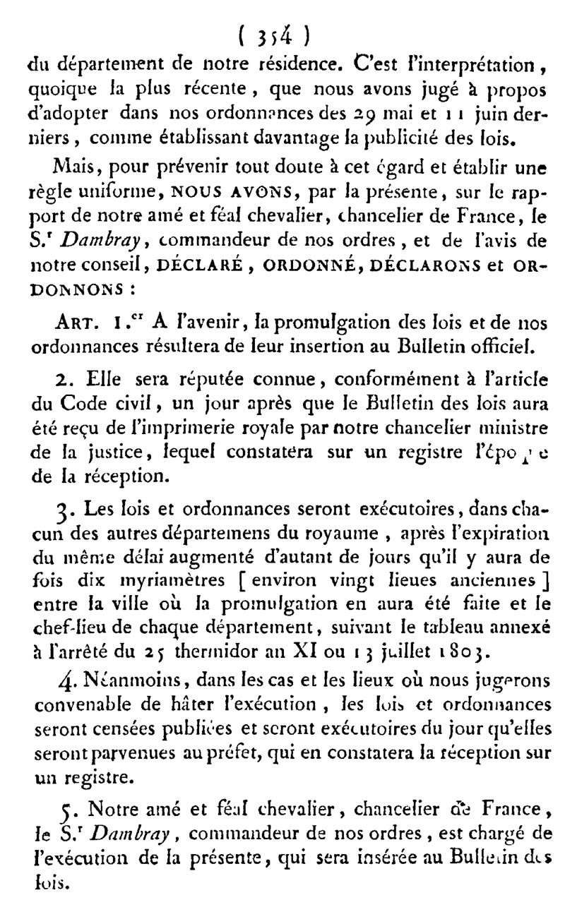Promulgation des lois Ordona11